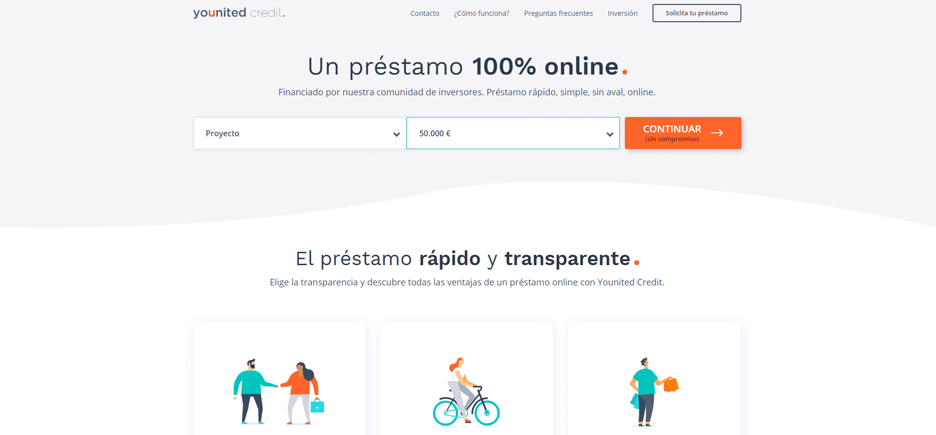 Younited Credit información y solicitud de financiación online las 24 horas hasta 50.000 € rápido, simple y sin aval